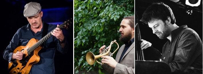 Wolfgang Muthspiel (Gitarre und Vocal), Mario Rom (Trompete), Colin Vallon (Klavier) (© Foto: Marc Ducrest, interzone, Mehdi Benkler)